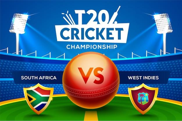 Concept de championnat de cricket t20 afrique du sud vs antilles en-tête ou bannière de match avec balle de cricket sur fond de stade.