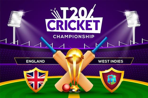Concept de championnat de cricket t20 angleterre vs antilles en-tête ou bannière de match avec balle de cricket, batte et trophée gagnant sur fond de stade.