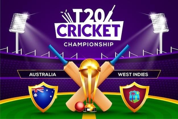 Concept de championnat de cricket t20 australie contre antilles en-tête ou bannière de match avec balle de cricket, batte et trophée gagnant sur fond de stade.
