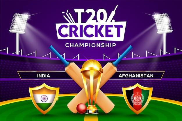 Concept de championnat de cricket t20 inde vs afghanistan en-tête ou bannière de match avec balle de cricket, batte et trophée gagnant sur fond de stade.