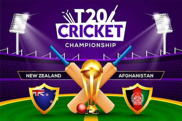 Concept de championnat de cricket t20 nouvelle-zélande contre l'afghanistan en-tête ou bannière de match avec balle de cricket, batte et trophée gagnant sur fond de stade.