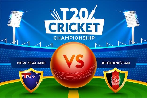 Concept de championnat de cricket t20 nouvelle-zélande contre l'afghanistan en-tête ou bannière de match avec une balle de cricket sur fond de stade.