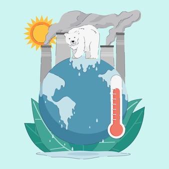 Concept de changement climatique dessiné à la main