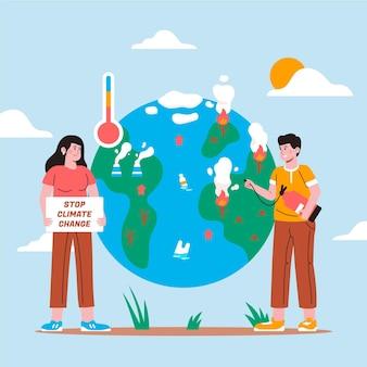 Concept de changement climatique de style dessiné à la main