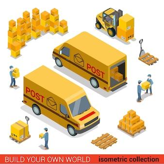 Concept de chargement de fourgon de livraison de personnel d'entrepôt de service postal plat d isométrique