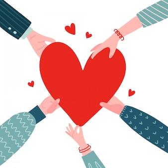 Concept de charité et de don.