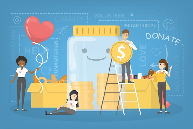 Concept de charité. les gens donnent de l'argent pour aider les pauvres. faites un don et partagez votre amour. idée humanitaire. illustration de plat vectorielle
