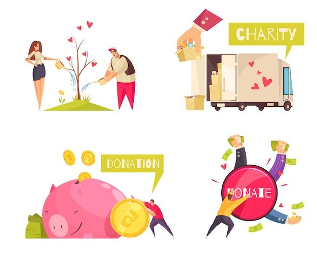 Concept de charité avec des pièces d'argent avec des objets donnés et des personnages humains avec illustration de texte