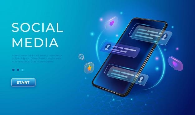 Concept de chat et de communication 3d. téléphone avec likes et icônes de message. bannière de médias sociaux d'application smartphone