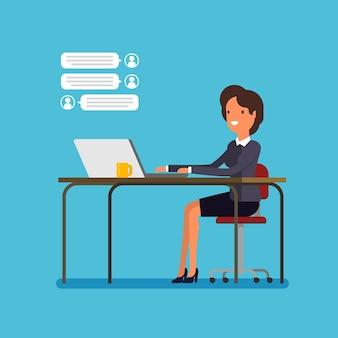 Concept de chat en direct, femme d'affaires de dessin animé discute. design plat, illustration vectorielle.