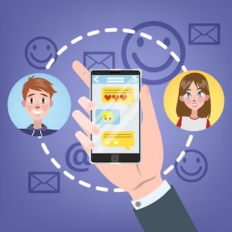 Concept de chat. les gens discutent en utilisant un téléphone mobile et un réseau social. concept de technologie moderne. illustration