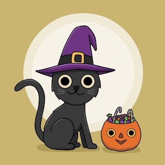 Concept de chat halloween dessiné à la main