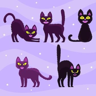 Concept de chat halloween dessiné à la main