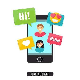 Concept de chat en ligne et réseau social.