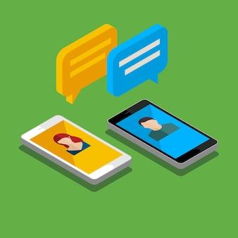 Concept d'un chat mobile ou d'une conversation de personnes via des téléphones mobiles. peut être utilisé pour illustrer la mondialisation, la connexion, les appels téléphoniques ou les sujets de médias sociaux. design plat, illustration vectorielle.