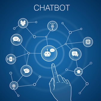 Concept de chatbot, fond bleu. assistant vocal, répondeur automatique, chat, icônes technologiques