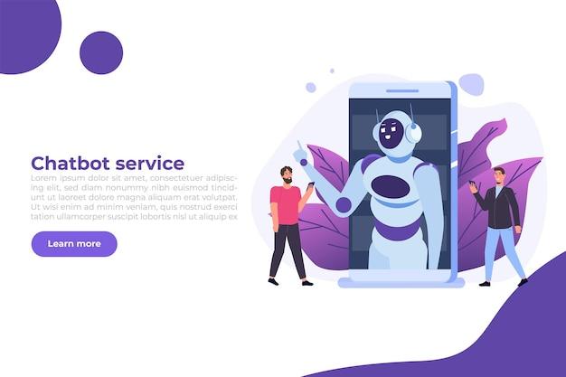 Concept de chatbot. homme parlant au robot. service de support client android, dialogue d'intelligence artificielle.