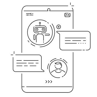 Concept de chatbot. homme textos avec chat bot. communication avec le chatbot. illustration vectorielle
