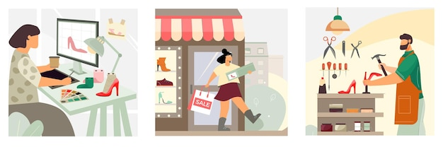 Concept de chaussures 3 compositions avec des chaussures pour femmes er client heureux quitte la réparation de l'artisan du magasin