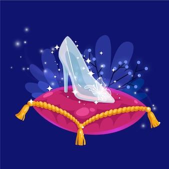Concept de chaussures en verre cendrillon