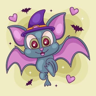 Concept de chauve-souris halloween dessiné à la main