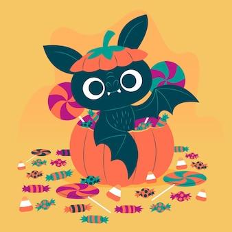 Concept de chauve-souris halloween plat