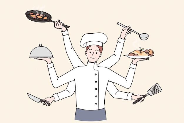 Concept de chef de cuisine multi-tâches
