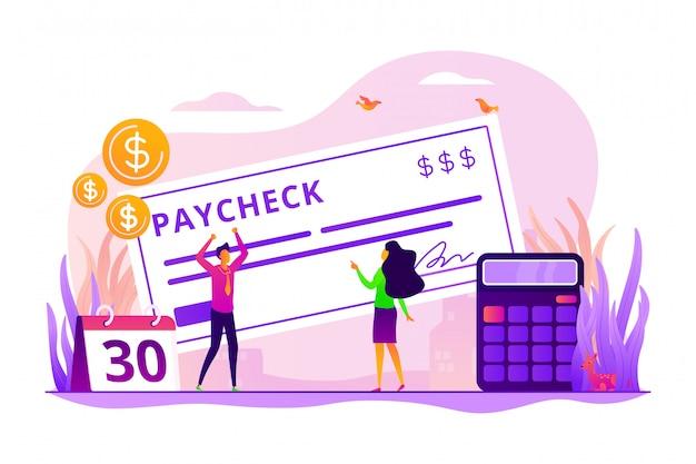 Concept de chèque de paie.