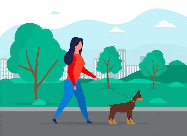 Concept de chien qui marche. chien professionnel promenant la personne.