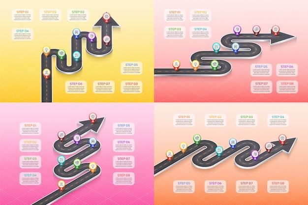 Concept de chronologie de carte isométrique navigation carte infographique 8 étapes.