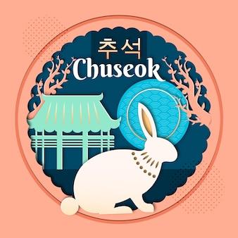 Concept de chuseok en style papier
