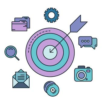 Concept de ciblage et de gestion avec des icônes