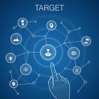 Concept cible, arrière-plan bleu. grande idée, tâche, objectif, patience