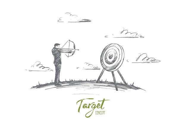 Concept de cible. main dessinée homme tenant la cible avec une fléchette au centre. concept d'illustration isolée de réalisation objective.