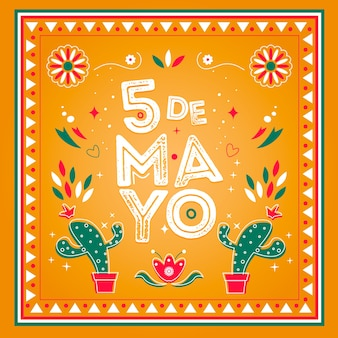 Concept de cinco de mayo dessiné à la main