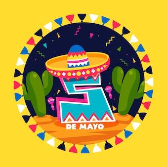 Concept de cinco de mayo plat