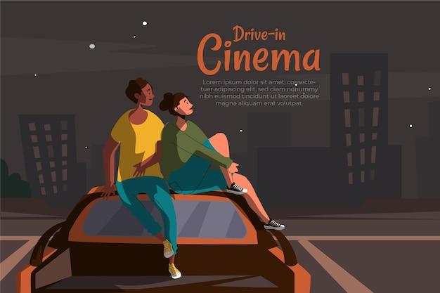 Concept de cinéma drive-in