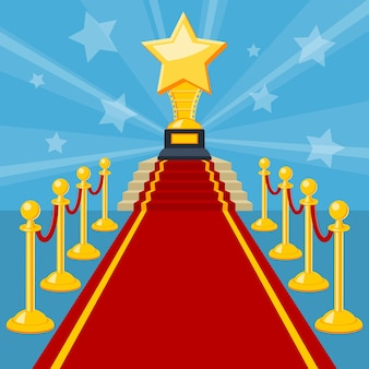 Concept de cinéma et de film avec prix de tapis rouge d'icônes plates, illustration vectorielle