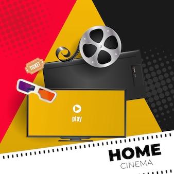 Concept de cinéma maison avec des éléments de cinéma