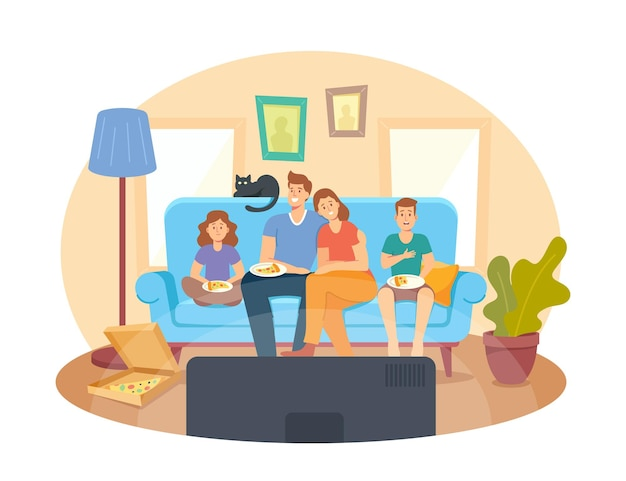 Concept de cinéma maison. famille heureuse regardant la télévision et mangeant des pizzas, des personnages d'enfants et de parents assis sur un canapé en soirée de week-end paresseux. loisirs, temps libre, jour de congé. illustration vectorielle de gens de dessin animé