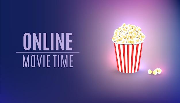 Concept de cinéma pop-corn de temps de film en ligne
