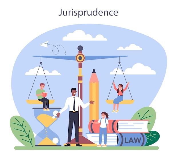 Concept de classe de droit. enseignement de la punition et du jugement. idée de culpabilité et d'innocence. cours de jurisprudence.