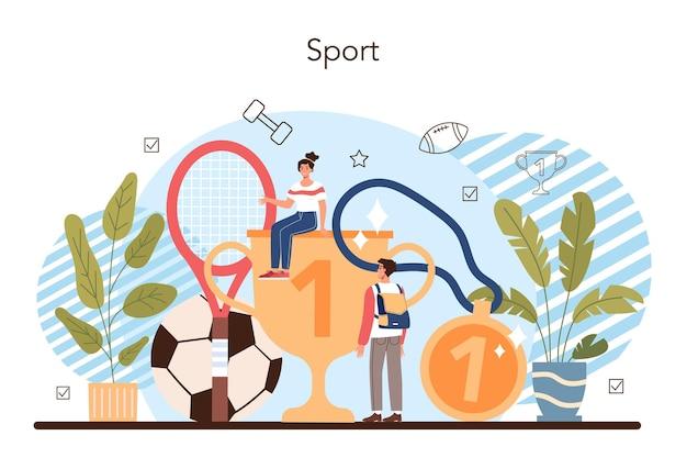 Concept de classe d'éducation physique ou de sport scolaire. remise en forme ou entraînement physique. étudiants faisant de l'exercice dans la salle de sport avec des équipements sportifs. illustration vectorielle plane