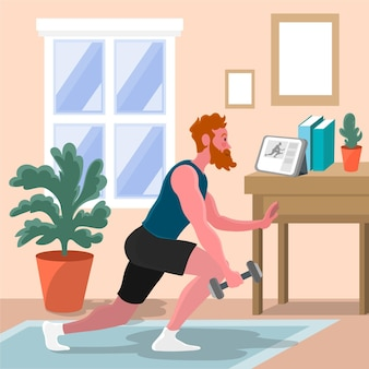 Concept de classes de sport en ligne dessiné à la main illustré