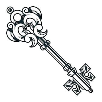 Concept de clé médiévale en filigrane vintage
