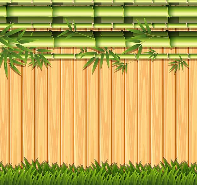 Concept de clôture en bois et bambou