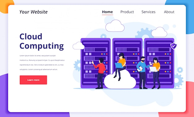 Concept de cloud computing, personnes travaillant sur ordinateur portable et serveur, stockage numérique, centre de données. modèle de conception de page de destination