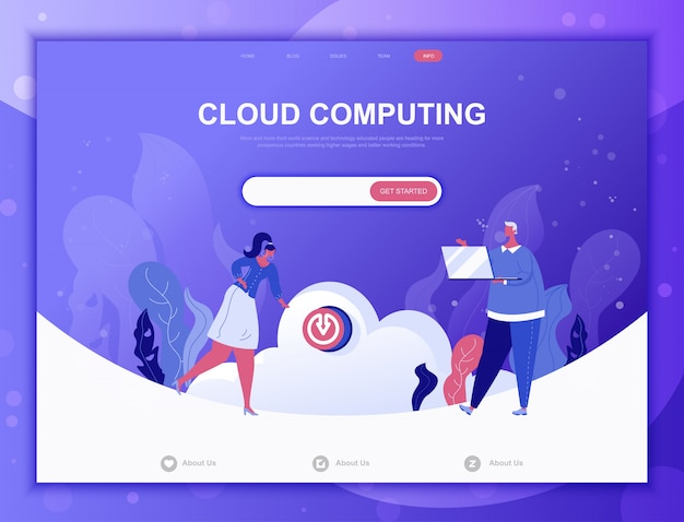 Concept de cloud computing plat, modèle web de page de destination