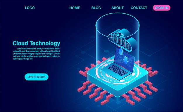 Concept de cloud computing. technologie informatique en ligne sur ordinateur portable. concept de traitement de flux de données volumineuses. illustration de design plat isométrique.
