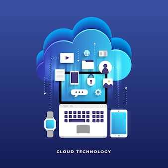 Concept de cloud computing utilisateurs de la technologie de configuration réseau isométrique. illustration.